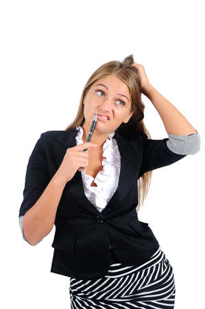 Isolated young business woman thinking Stock Photo - 16864566