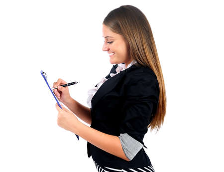 Isolated young business woman write photo