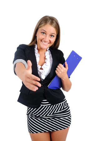 Isolated young business woman handshake Stock Photo - 16864589