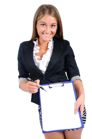 Isolated young business woman showing clipboard photo