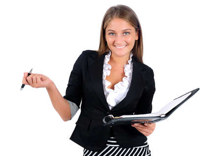 Isolated young business woman with agenda Stock Photo