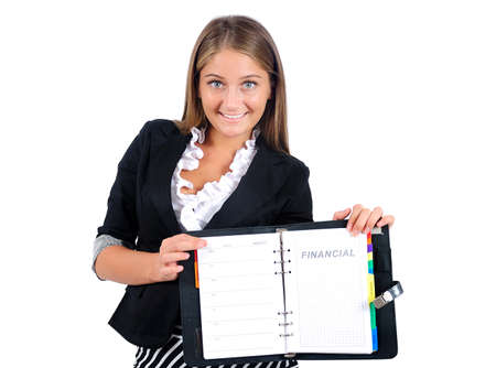 Isolated young business woman showing agenda photo