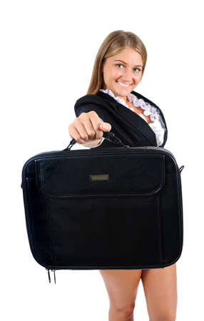 Isolated young business woman showing briefcase photo