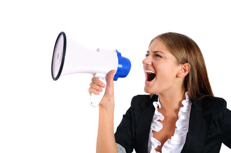 Isolated young business woman with loudspeaker Stock Photo - 16864432