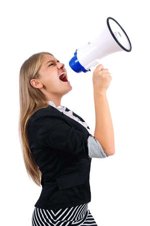 Isolated young business woman with loudspeaker Stock Photo - 16864461