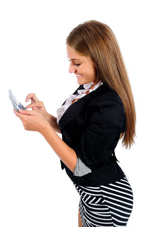 Isolated young business woman calculate photo