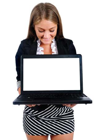 Mujer aislada negocio joven mostrando port�til photo