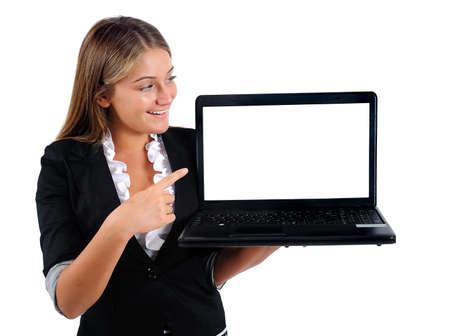 Isolé jeune femme d'affaires montrant ordinateur portable Banque d'images