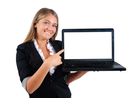 Isolated young business woman showing laptop photo