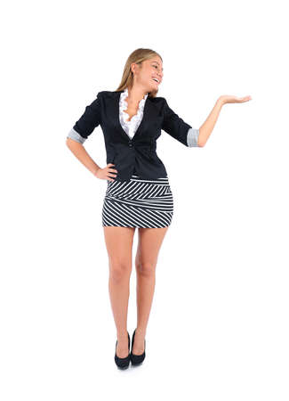 Isolated young business woman presenting photo