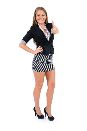 Isolated young business woman approve Stock Photo - 16863313