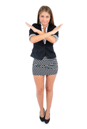 Isolated young business woman refuse Stock Photo - 16862853