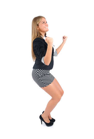 Isolated young business woman happy Stock Photo - 16862512