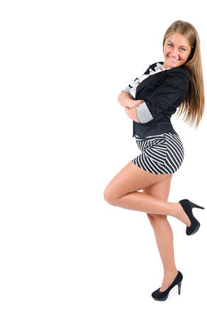 adult wall: Isolated young business woman leaning