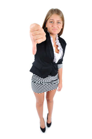 Isolated young business woman dislike Stock Photo - 16862488
