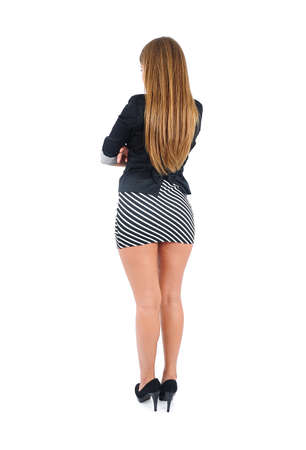 fold back: Isolated young business woman back view