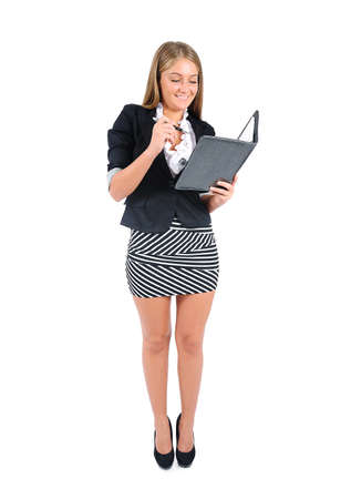 Isolated young business woman holding agenda
