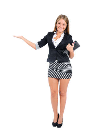 nothing: Isolated young business woman presenting Stock Photo