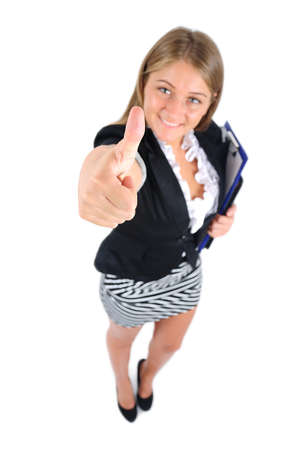 Isolated young business woman approve Stock Photo - 16862655