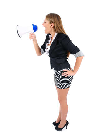 Isolated young business woman with loudspeaker Stock Photo - 16862742