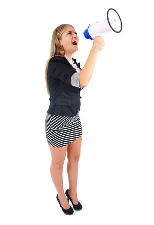 Isolated young business woman with loudspeaker Stock Photo - 16862784