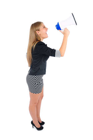 Isolated young business woman with loudspeaker Stock Photo - 16862817