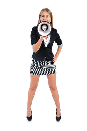 Isolated young business woman with loudspeaker Stock Photo - 16862826