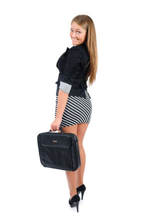 Isolated young business woman with briefcase photo