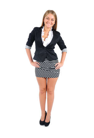 Isolated young business woman standing Stock Photo - 16862924