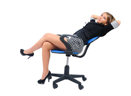 Isolated young business woman relaxed photo