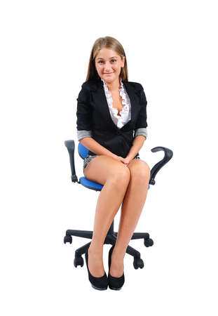 inocent: Isolated young business woman standing