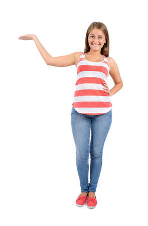 Isolated young casual woman presenting photo
