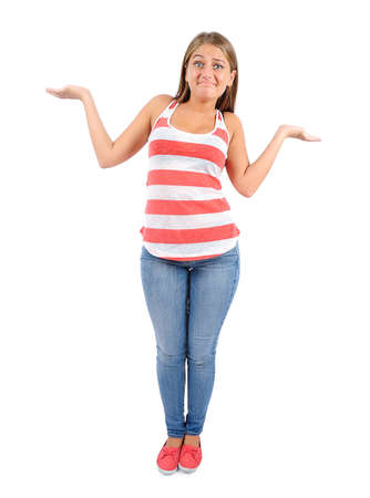Isolated young casual woman confused Stock Photo - 16863881