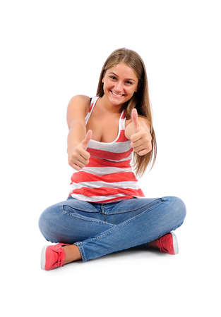 Isolated young casual woman approve Stock Photo - 16864567