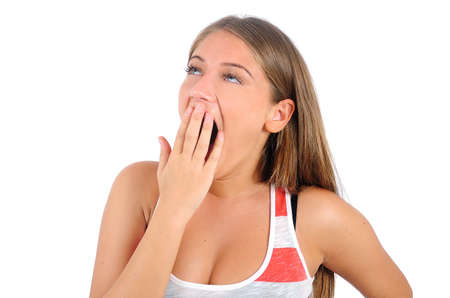 Isolated young casual woman yawn Stock Photo - 16864641