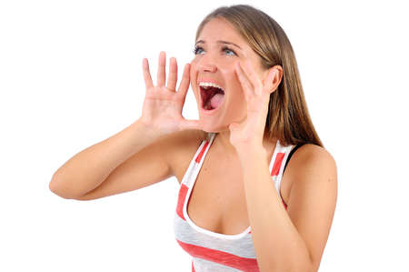 Isolated young casual woman screaming Stock Photo - 16864535