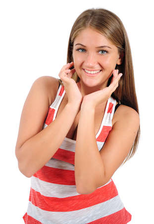 Isolated young casual woman standing Stock Photo - 16865814