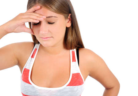 Isolated young casual woman headache Stock Photo - 16864765
