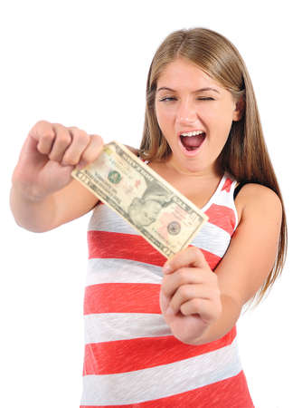 Isolated young casual woman showing money Stock Photo - 16865484