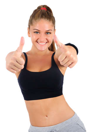 Isolated young fitness woman agreement photo