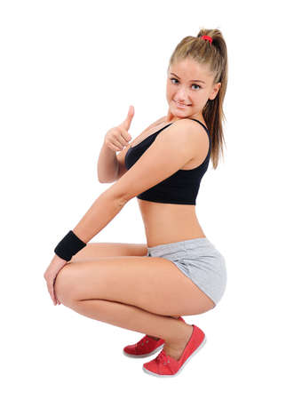 Isolated young fitness woman standing Stock Photo - 16863965