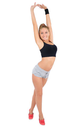 Isolated young fitness woman stretching Stock Photo - 16861962