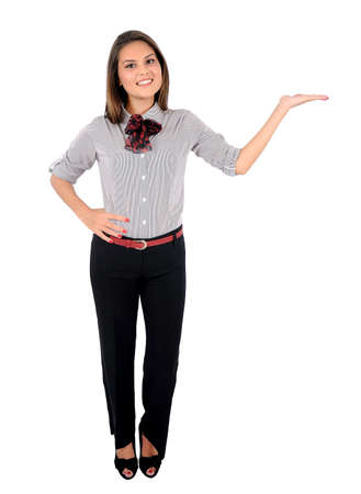 business backgound: Isolated young business woman holding palm Stock Photo