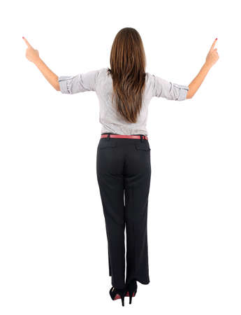 Isolated young business woman pointing photo
