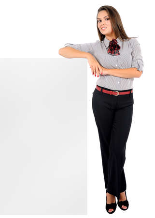 Isolated young business woman leaning Stock Photo - 16864115