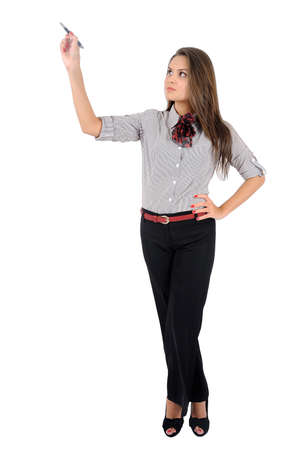 Isolated young business woman drawing Stock Photo - 16863314