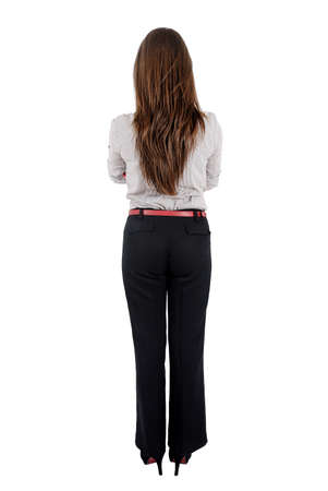 business backgound: Isolated young business woman standing