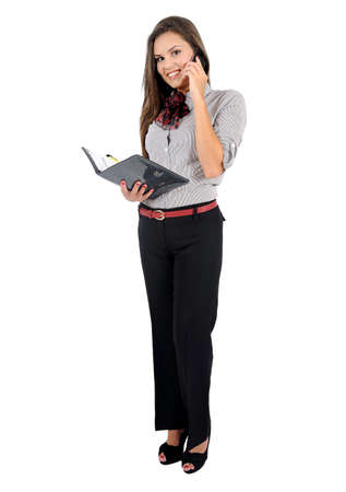 business backgound: Isolated young business woman with notebook