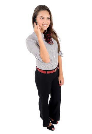 business backgound: Isolated young business woman speaking phone