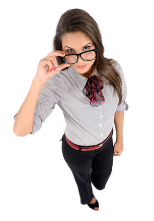 business backgound: Isolated young business woman with eyeglasses Stock Photo